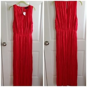 NWT Banana Republic Red Pleated Maxi Dress Size L